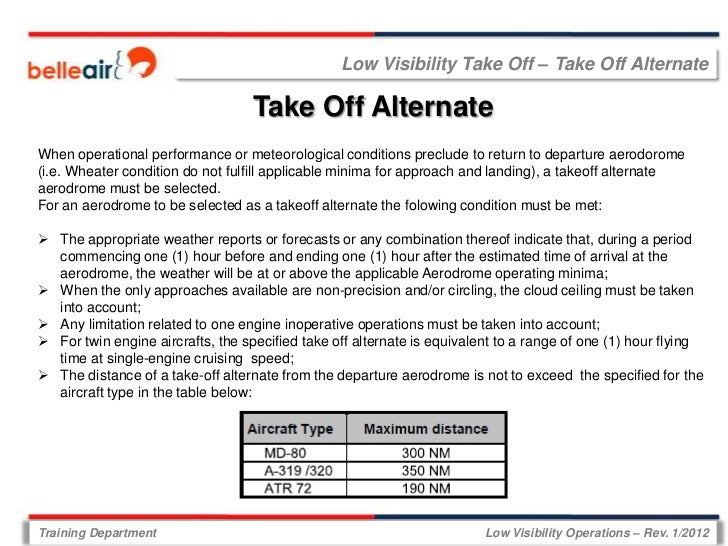 Low Visibility Take Off – Take Off Alternate                                   Take Off AlternateWhen operational performa...