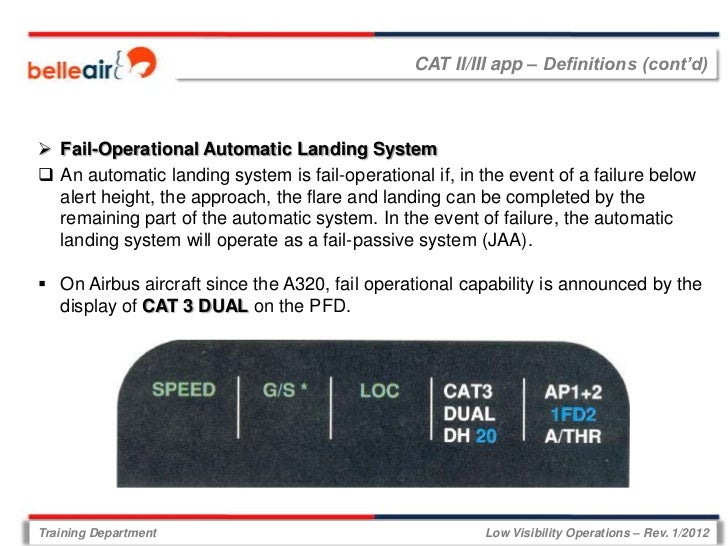 CAT II/III app – Definitions (cont'd) Fail-Operational Automatic Landing System An automatic landing system is fail-oper...