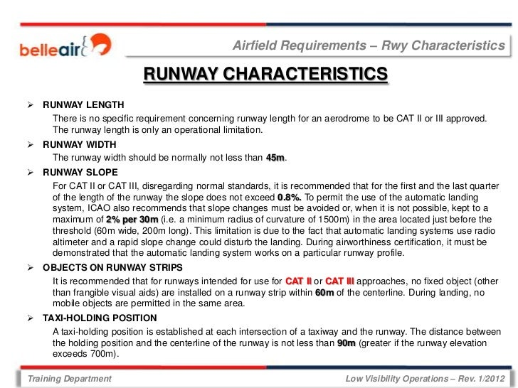 Airfield Requirements – Rwy Characteristics                            RUNWAY CHARACTERISTICS RUNWAY LENGTH   There is no...