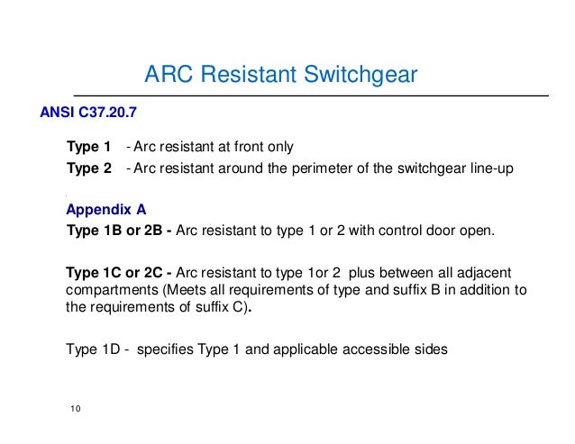 arc resistance switchgear Medium-voltage panels and switchgear equipment, thereby eliminating false trips   including the use of special clothing, arc-resistant switchgear, and remote.