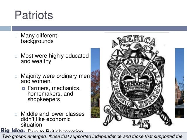 patriots vs loyalists essay We will write a cheap essay sample on loyalists or patriots specifically for you for only $1290/page order now patriots vs loyalists:.