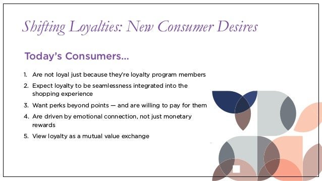 Shifting Loyalties: New Consumer Desires 1. Are not loyal just because they're loyalty program members 2. Expect loyalty t...