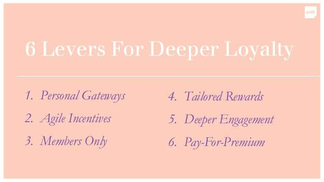 6 Levers For Deeper Loyalty 1. Personal Gateways 2. Agile Incentives 3. Members Only 4. Tailored Rewards 5. Deeper Engagem...