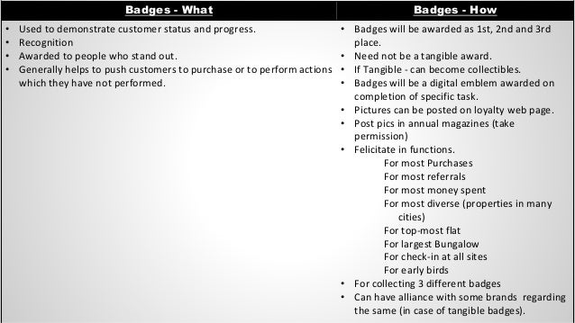 Badges - What Badges - How • Used to demonstrate customer status and progress. • Recognition • Awarded to people who stand...