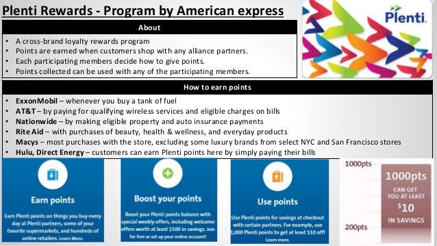Plenti Rewards - Program by American express How to earn points • ExxonMobil – whenever you buy a tank of fuel • AT&T – by...