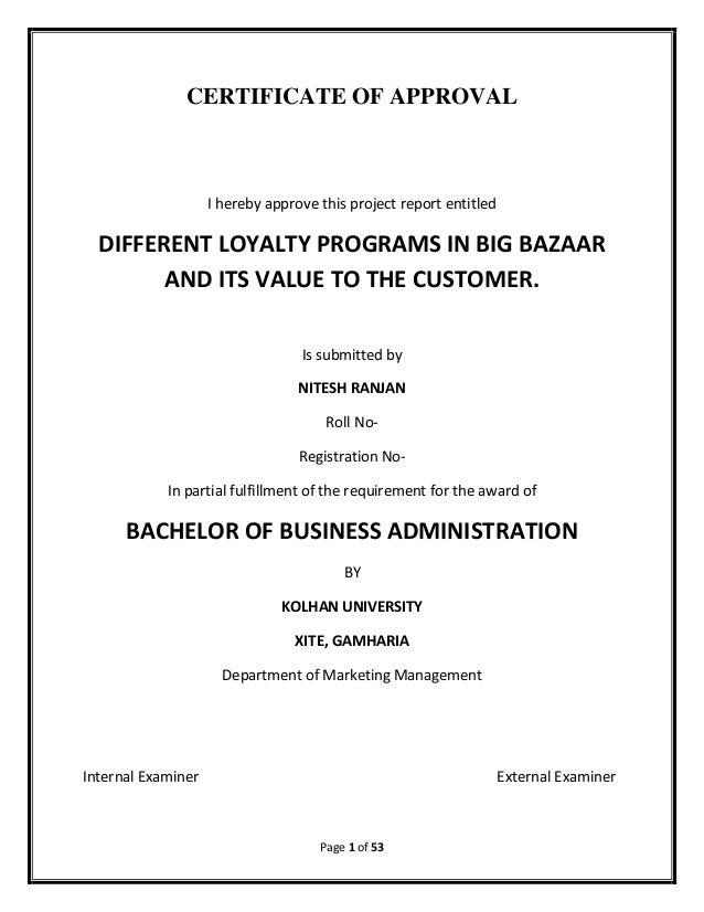 Literature review on customer loyalty initiatives in big bazaar