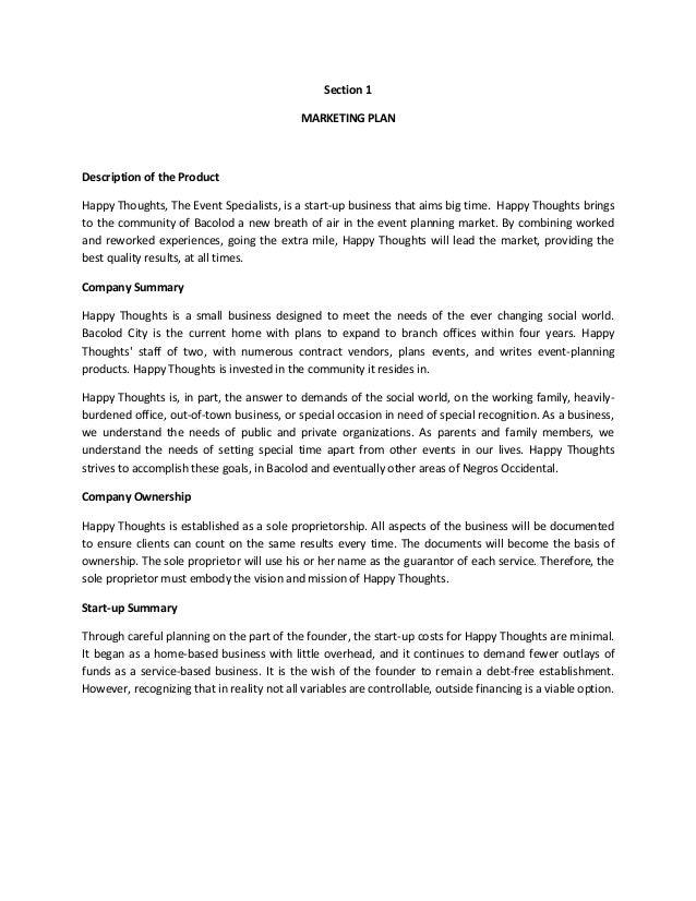 Organizing a business proposal