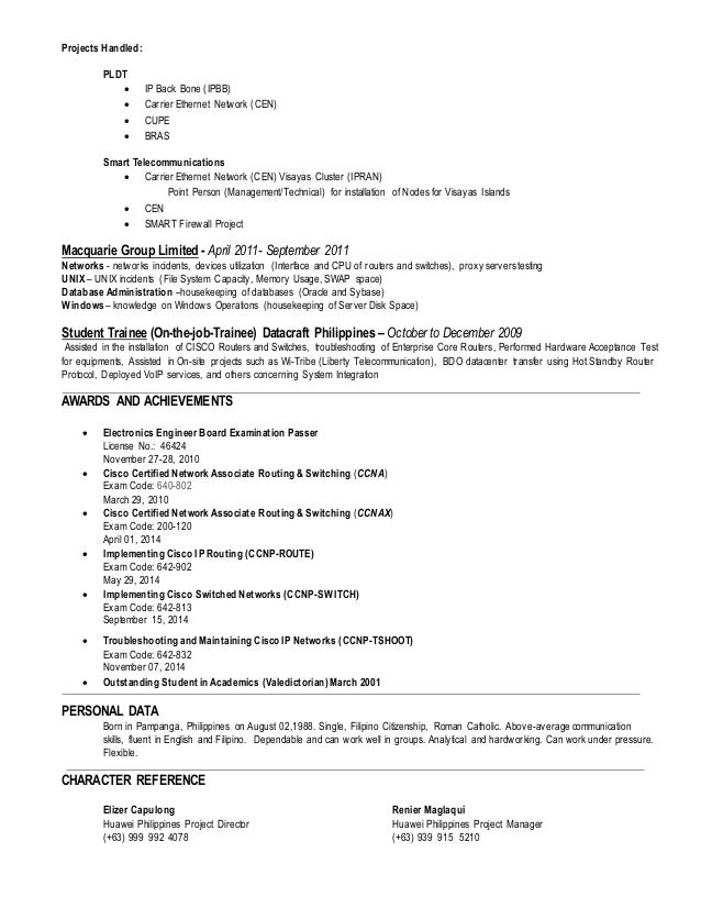 network engineer ccnp cv - Huawei Certified Network Engineer Sample Resume