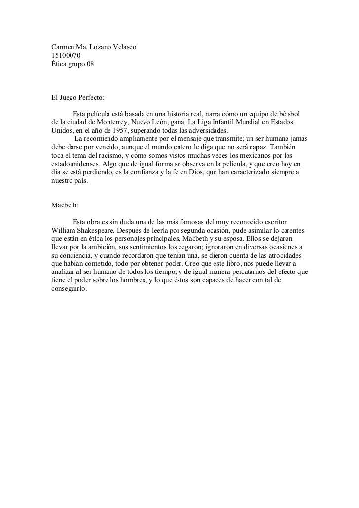 Carmen Ma. Lozano Velasco 15100070 Ética grupo 08    El Juego Perfecto:          Esta película está basada en una historia...