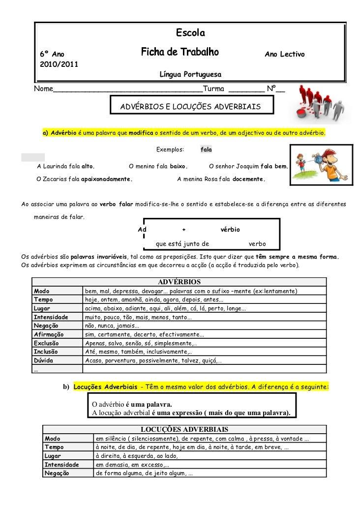 Escola      6º Ano                                                                               Ano Lectivo      2010/201...