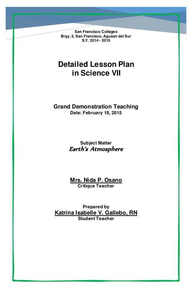 ... del SurS.Y. 2014 - 2015Detailed Lesson Planin Science VIIGrand D