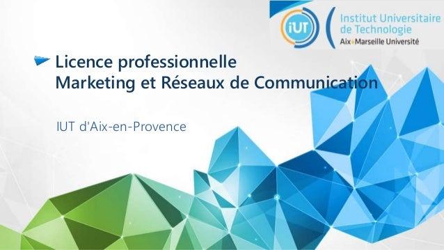 Licence professionnelle Marketing et Réseaux de Communication IUT d'Aix-en-Provence
