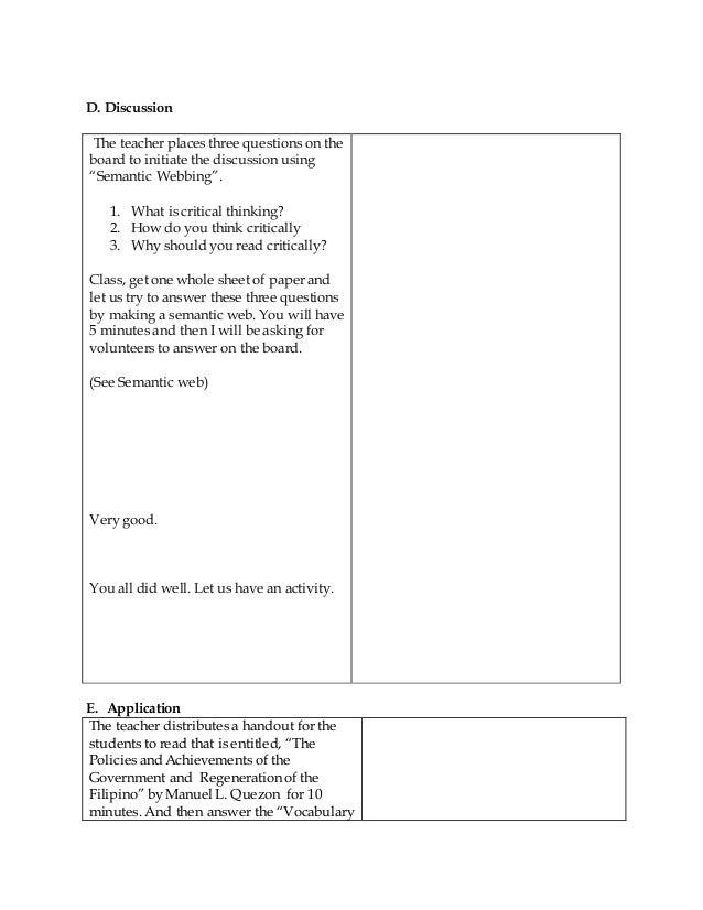 critical thinking lesson plan