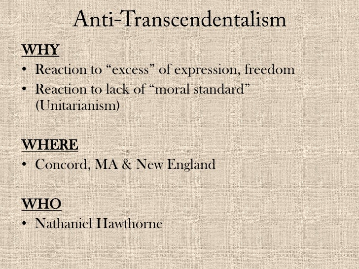 reaction to transcendentalism essay Find essay examples relation between romanticism and transcendentalism that developed around 1836 in new england as a reaction to rationalism.