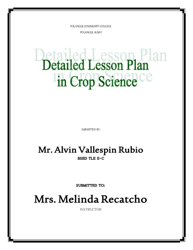 Detailed Lesson Plan In Crop Science