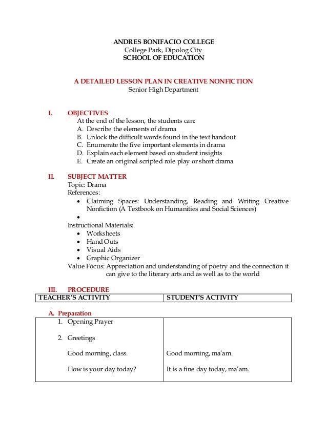 Detailed Lesson Plan Creative Nonfiction Drama