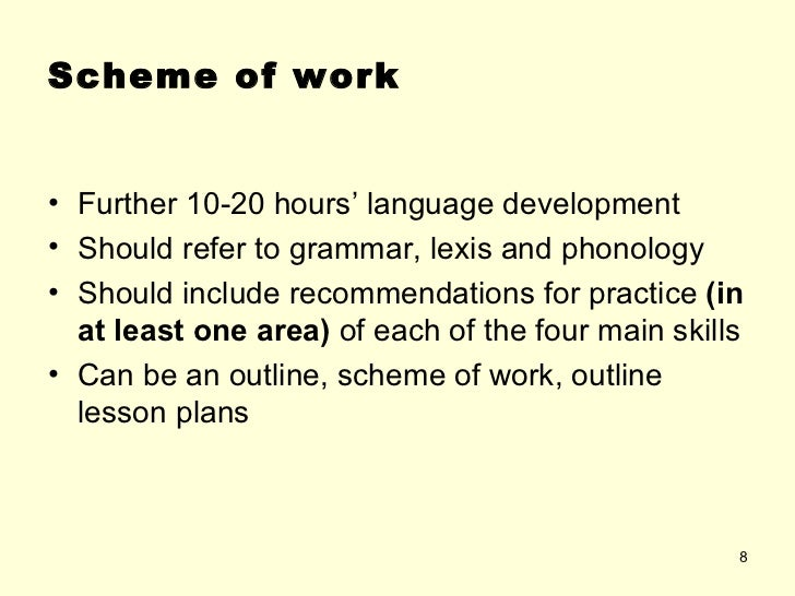components of scheme of work