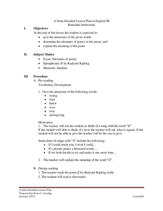 A Semi-Detailed Lesson Plan in English III                                       Remedial Instruction    I.      Objective...