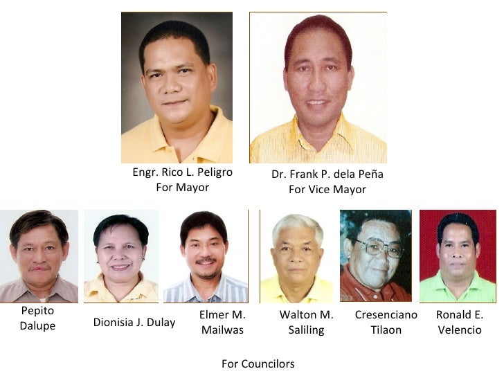 Engr. Rico L. Peligro For Mayor Dr. Frank P. dela Peña For Vice Mayor Ronald E. Velencio Cresenciano Tilaon Elmer M. Mailw...
