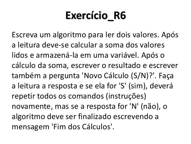 Exercício_R6 Resolução em Portugol Studio
