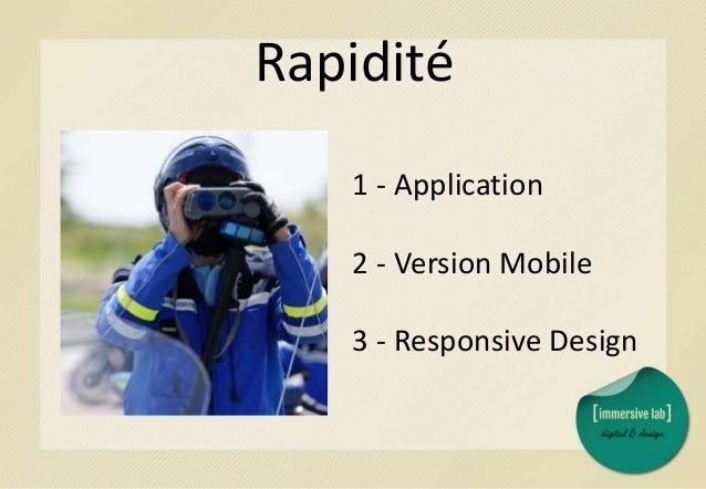 Coût de développement 1 - Version Mobile 2 - Responsive Design 3 - Application