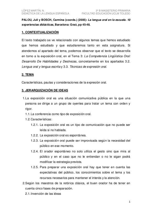 LÓPEZ MARTÍN, N. DIDÁCTICA DE LA LENGUA ESPAÑOLA  3º B MAGISTERIO PRIMARIA FACULTAD EDUCACIÓN UCLM TOLEDO  PALOU, Juli y B...