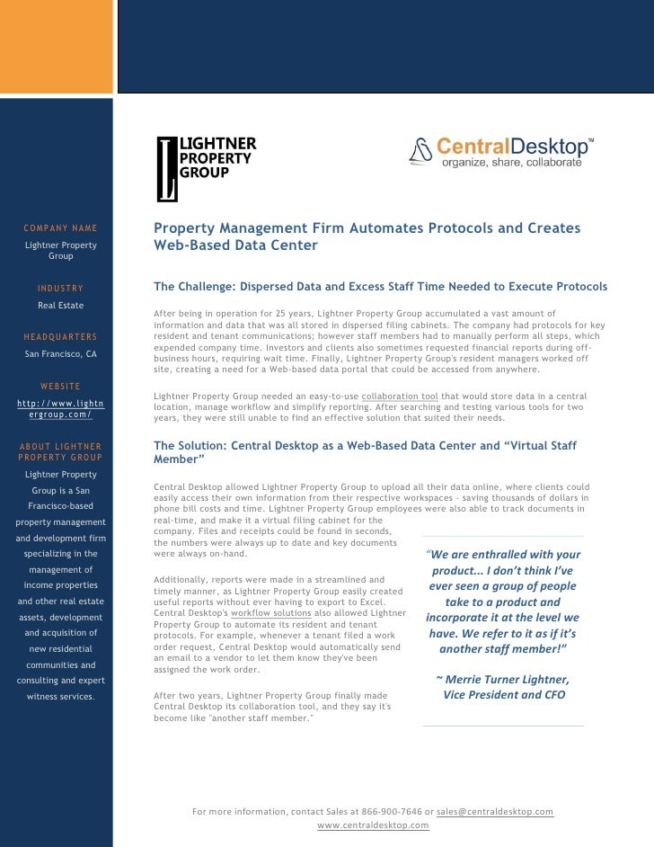 COMPANY NAME             Property Management Firm Automates Protocols and Creates   Lightner Property       Web-Based Data...