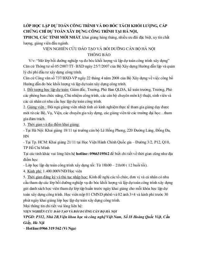 LỚP HỌC LẬP DỰ TOÁN CÔNG TRÌNH VÀ ĐO BÓC TÁCH KHỐI LƯỢNG, CẤP CHỨNG CHỈ DỰ TOÁN XÂY DỰNG CÔNG TRÌNH TẠI HÀ NỘI, TPHCM, CÁC...