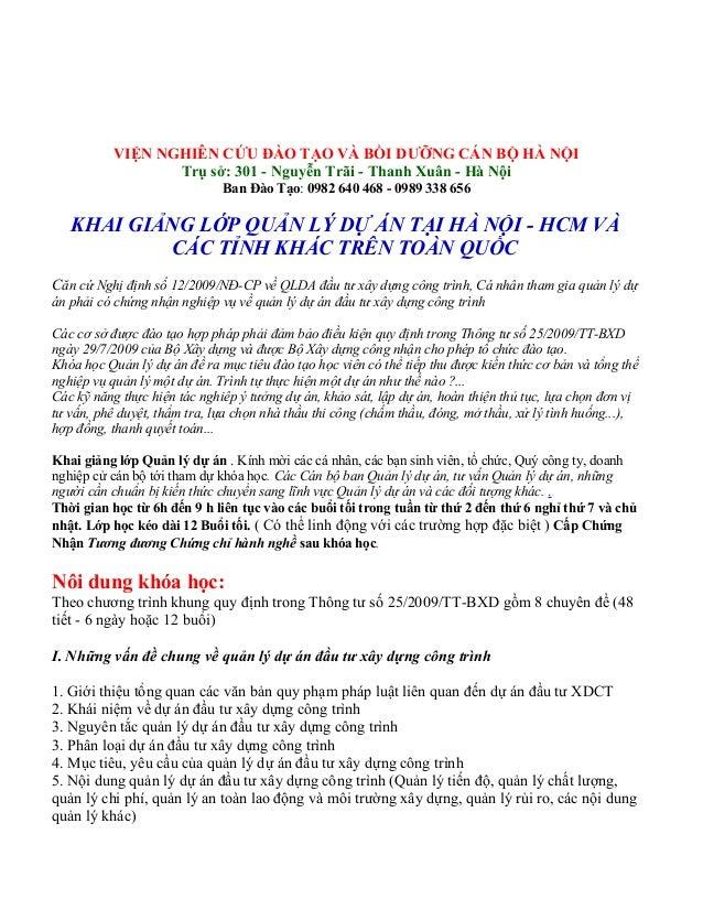 Viện liên tục Khai giang lop hoc Quan ly du an, Viện Cap Chung Chi Quan ly du an, hoc lop, Dia diem, khoa hoc, Quản lý dự ...