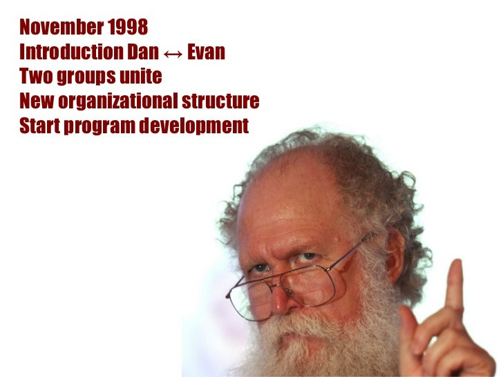 November 1998Introduction Dan ↔ EvanTwo groups uniteNew organizational structureStart program development