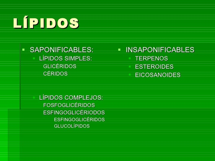 LÍPIDOS <ul><li>SAPONIFICABLES: </li></ul><ul><ul><li>LÍPIDOS SIMPLES: </li></ul></ul><ul><ul><ul><li>GLICÉRIDOS </li></ul...