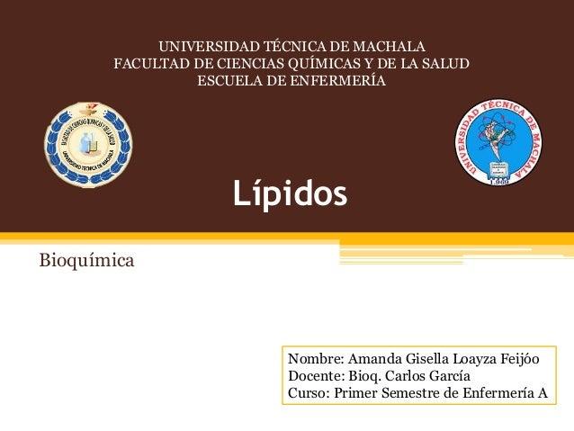 UNIVERSIDAD TÉCNICA DE MACHALA FACULTAD DE CIENCIAS QUÍMICAS Y DE LA SALUD ESCUELA DE ENFERMERÍA  Lípidos Bioquímica  Nomb...