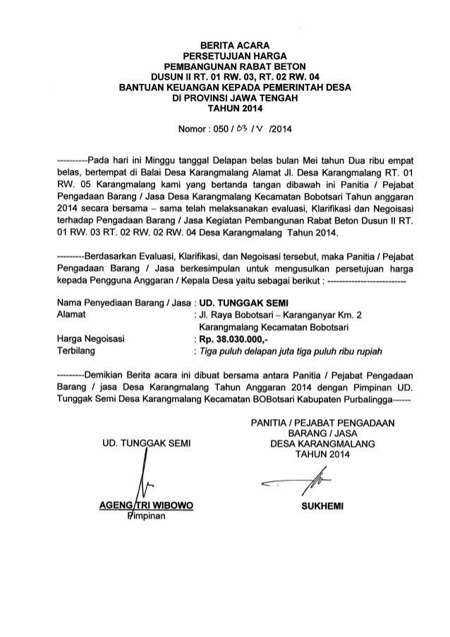 Lpj Bantuan Keuangan Kepada Pemdes Di Jateng Tahun 2014