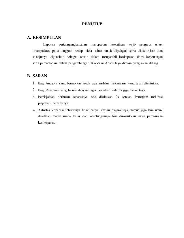 Contoh Laporan Pertanggungjawaban Pengurus Koperasi Seputar Laporan