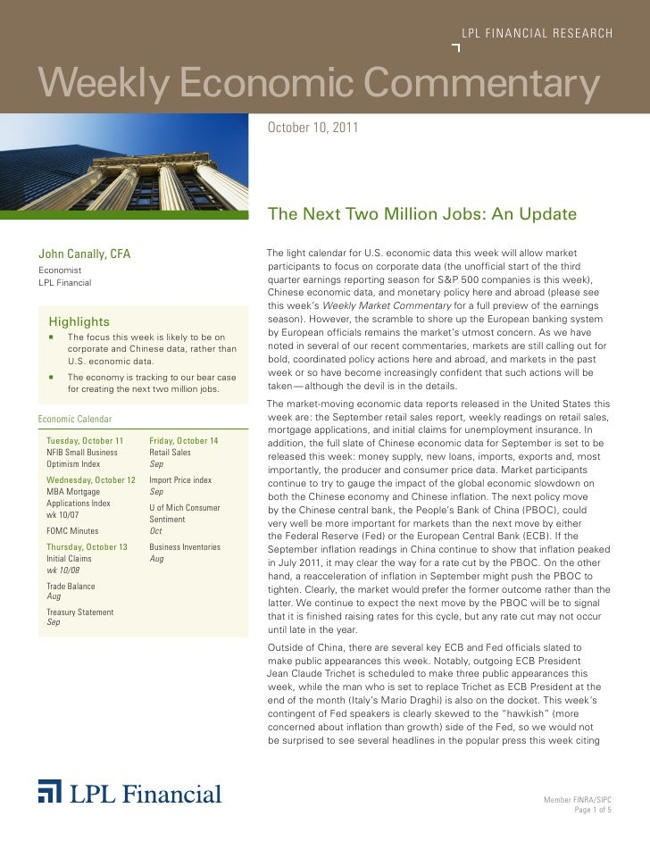 LP L FINANCIAL R E S E AR C HWeekly Economic Commentary                                                  October 10, 2011 ...