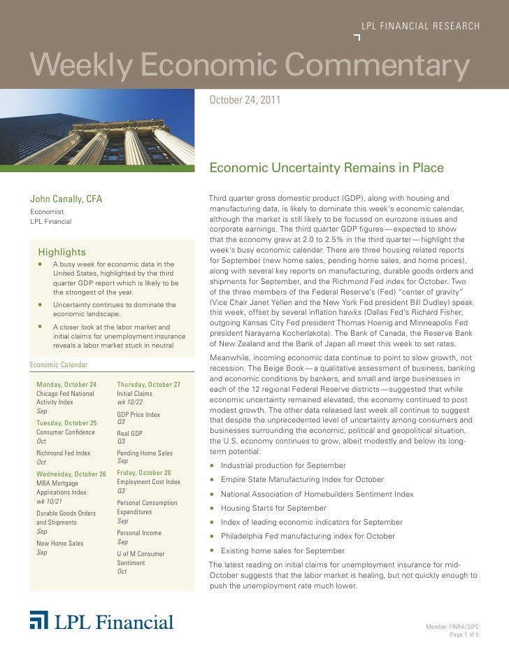 LP L FINANCIAL R E S E AR C HWeekly Economic Commentary                                                   October 24, 2011...