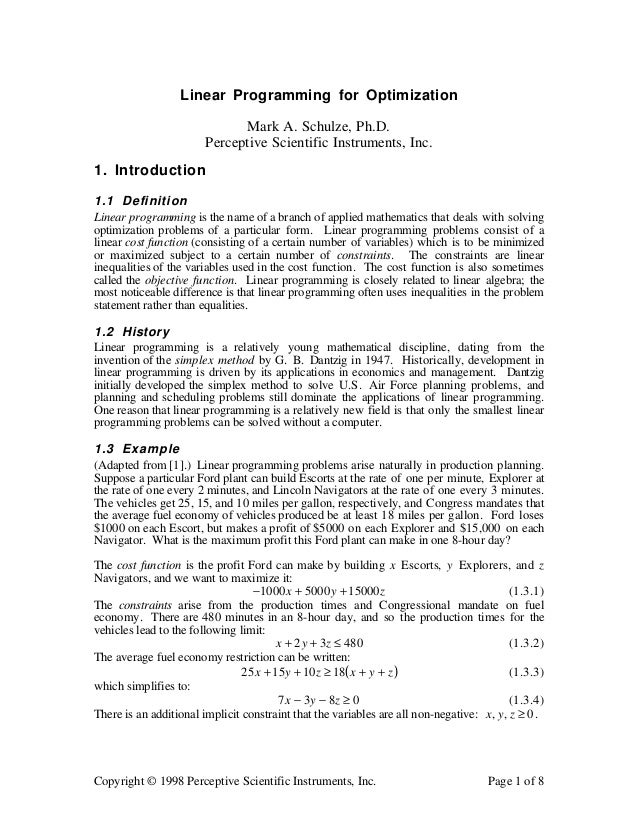copyright 1998 perceptive scientific instruments inc page 1 of 8 linear programming for