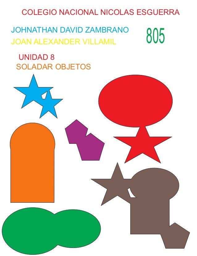 COLEGIO NACIONAL NICOLAS ESGUERRA JOHNATHAN DAVID ZAMBRANO JOAN ALEXANDER VILLAMIL 805 UNIDAD 8 SOLADAR OBJETOS