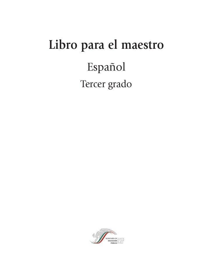 Libro para el maestro  Espanol 3er grado primaria