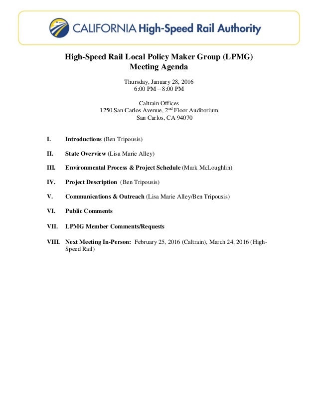 high speed rail local policy maker group lpmg meeting agenda thursday