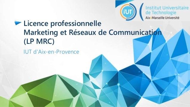 Licence professionnelle Marketing et Réseaux de Communication (LP MRC) IUT d'Aix-en-Provence