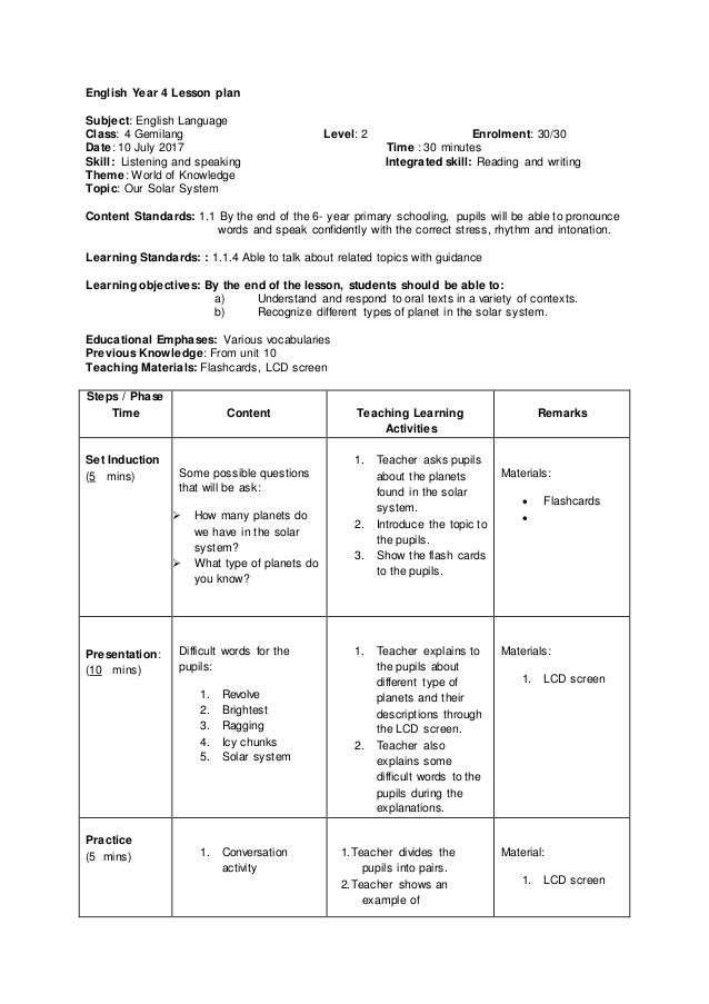 listening and speaking lesson plan Listening and speaking lesson plan example (kssr) - download as word doc (doc / docx), pdf file (pdf), text file (txt) or view presentation slides online kssr format.