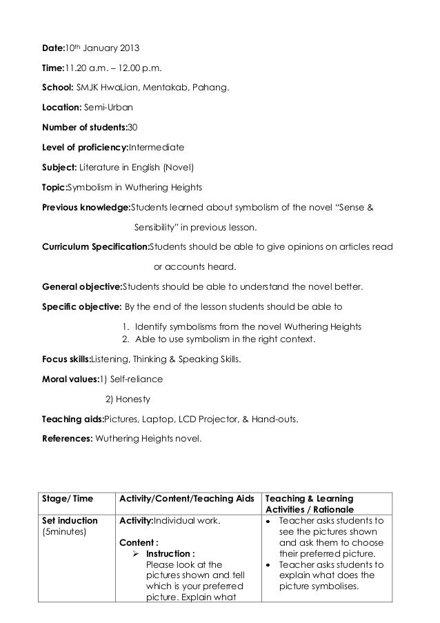 Lesson Plan For Teaching Of Symbolism Wuthering Heights