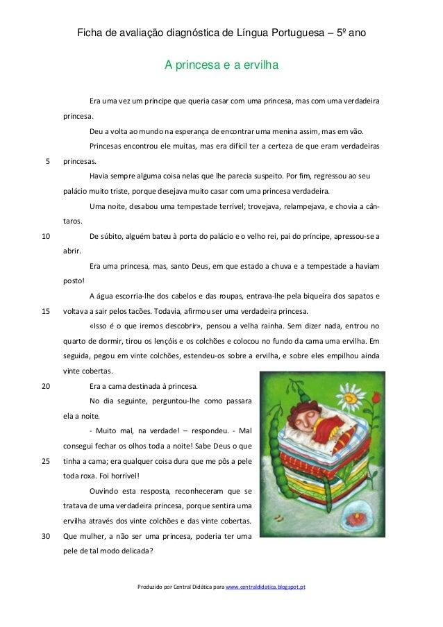 Ficha de avaliação diagnóstica de Língua Portuguesa – 5º ano Produzido por Central Didática para www.centraldidatica.blogs...