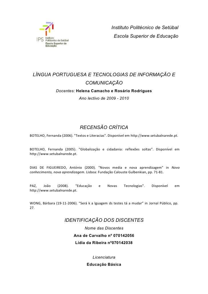 Instituto Politécnico de Setúbal                                                    Escola Superior de Educação      LÍNGU...