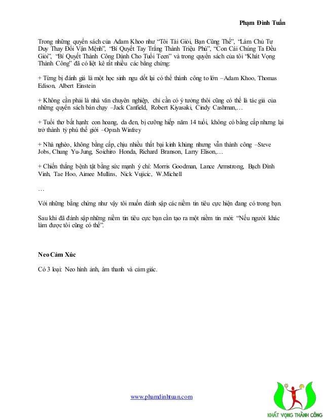 """Phạm Đình Tuấn  Trong những quyển sách của Adam Khoo như """"Tôi Tài Giỏi, Bạn Cũng Thế"""", """"Làm Chủ Tư  Duy Thay Đổi Vận Mệnh""""..."""