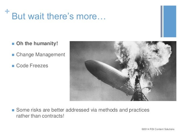 ©2014 RSI Content Solutions  +  But wait there's more…   Oh the humanity!   Change Management   Code Freezes   Some ri...
