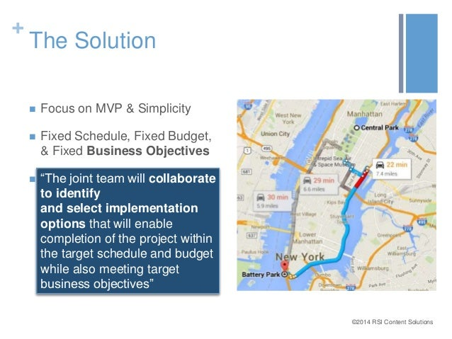 ©2014 RSI Content Solutions  +  The Solution   Focus on MVP & Simplicity   Fixed Schedule, Fixed Budget,  & Fixed Busine...