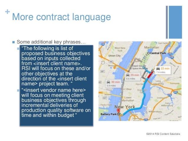 """©2014 RSI Content Solutions  +  More contract language   Some additional key phrases…   """"The following is list of  propo..."""