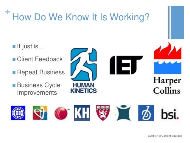 +  How Do We Know It Is Working?  ©2014 RSI Content Solutions   It just is…   Client Feedback   Repeat Business   Busi...